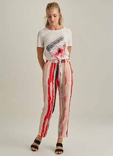 NGSTYLE Desenli Pantolon Kırmızı